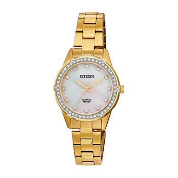 Citizen Womens Crystal Accent Gold Tone Stainless Steel Bracelet Watch - Er0222-56d