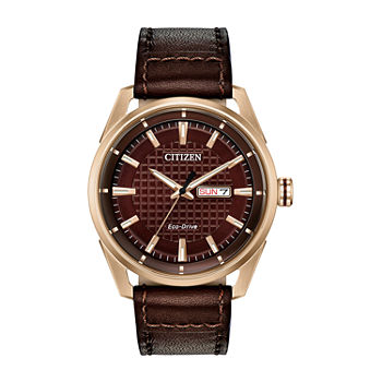 Drive from Citizen Mens Brown Leather Strap Watch-Aw0083-08x