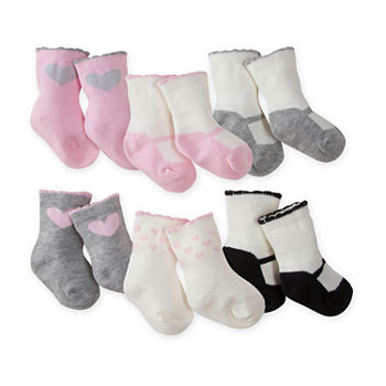 Gerber Baby Girls 6 Pair Crew Socks