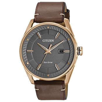 Drive from Citizen Mens Brown Leather Strap Watch-Bm6983-00h