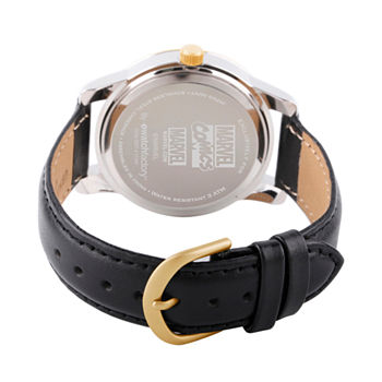 Marvel Classic Marvel Mens Black Leather Strap Watch-Wma000058