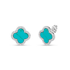Fancy Blue Turquoise Sterling Silver Stud Earrings