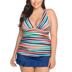 St. John's Bay Stripe Tankini Swimsuit Top or Ruffle Hem Skirt-Plus