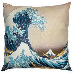 Oriental Furniture Great Waves Off Kanagawa Throw Pillow