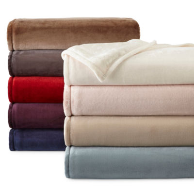 jcpenney home velvet plush solid blanket - Twin Xl Sheets