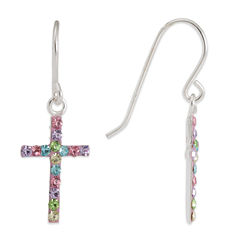 Sterling SIlver Multi Color Crystal Cross  Drop Earrings