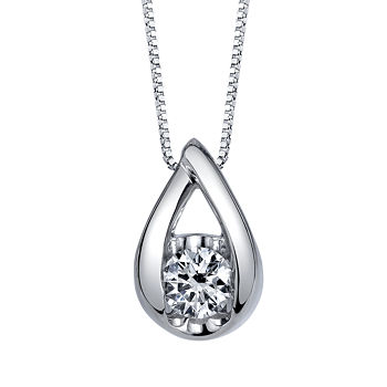 Sirena Womens 1/2 CT. T.W. Genuine White Diamond 14K Gold Pendant Necklace