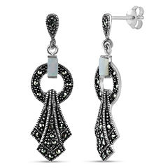 Swarovski Marcasite Sterling Silver Drop Earrings