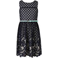 Speechless Burnout Lace Sleeveless Skater Dress - Girls' Plus