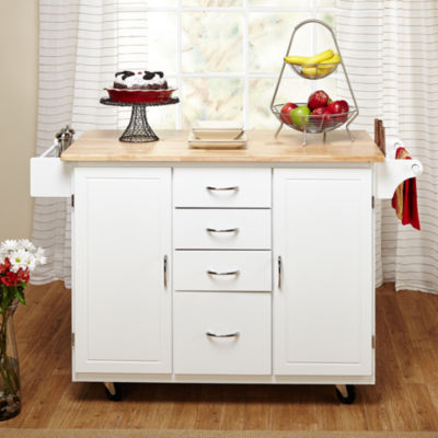 Cottage Country Wood Top Kitchen Cart