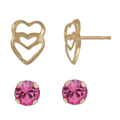 Pink Cubic Zirconia 14K Gold Earring Sets