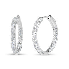 2 CT. T.W. White Cubic Zirconia Sterling Silver Hoop Earrings