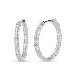 2 1/2 CT. T.W. White Cubic Zirconia Sterling Silver Hoop Earrings