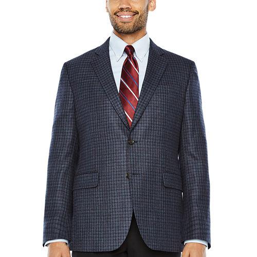 Stafford Merino Wool Sportcoat Blue Gray Red Windowpane - Classic