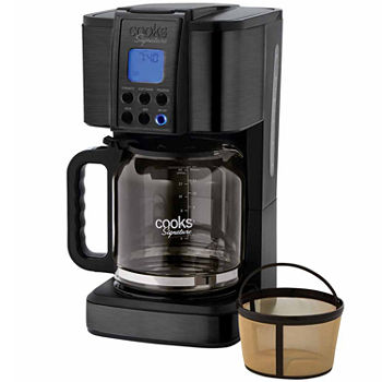 Cooks Signature Black Stainless Steel 14-Cup Programmable Coffee Maker