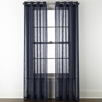 Linden Street Brooke Sheer Grommet-Top Single Curtain Panel
