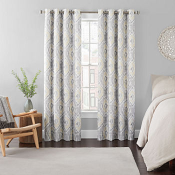 Eclipse Ambiance Ikat Draft Stopper Energy Saving 100% Blackout Grommet-Top Single Curtain Panel