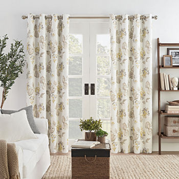 Eclipse Ambiance  Floral Draft Stopper Energy Saving 100% Blackout Grommet-Top Single Curtain Panel