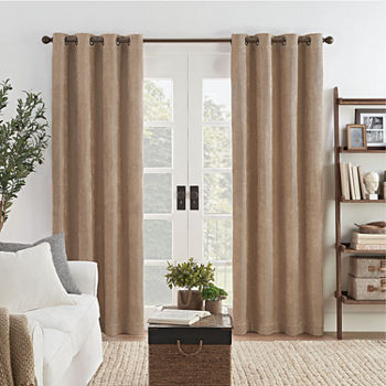 Eclipse Ambiance Draft Stopper Energy Saving 100% Blackout Grommet-Top Single Curtain Panel