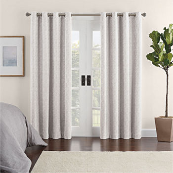 Eclipse Ambiance Geo Draft Stopper Energy Saving 100% Blackout Grommet-Top Single Curtain Panel