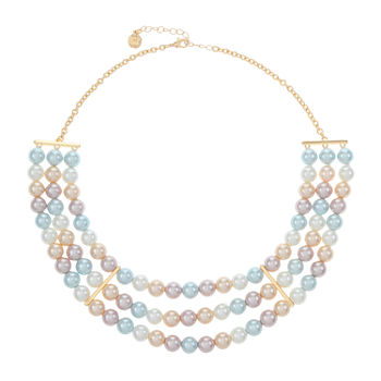 Monet Jewelry Simulated Pearl 18 Inch Cable Collar Necklace