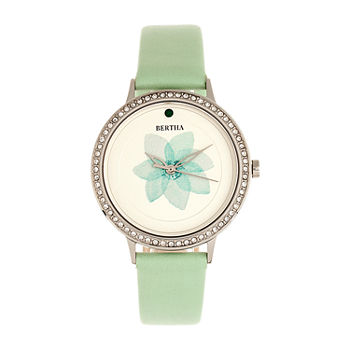 Bertha Womens Green Leather Strap Watch-Bthbr8601