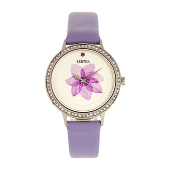 Bertha Womens Purple Leather Strap Watch-Bthbr8602