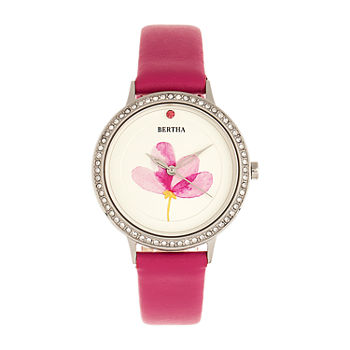 Bertha Womens Pink Leather Strap Watch-Bthbr8603