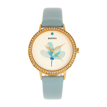 Bertha Womens Blue Leather Strap Watch-Bthbr8604