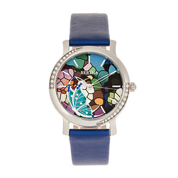 Bertha Womens Blue Leather Strap Watch-Bthbr8703
