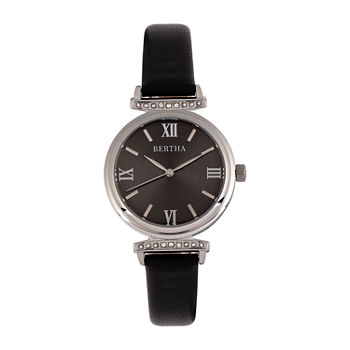 Bertha Womens Black Leather Strap Watch-Bthbr9601