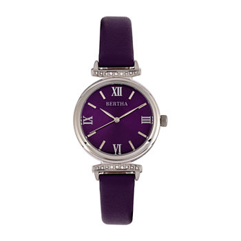 Bertha Womens Purple Leather Strap Watch-Bthbr9602