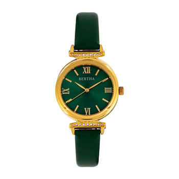 Bertha Womens Green Leather Strap Watch-Bthbr9604