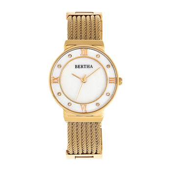 Bertha Womens Gold Tone Stainless Steel Bracelet Watch - Bthbr9703