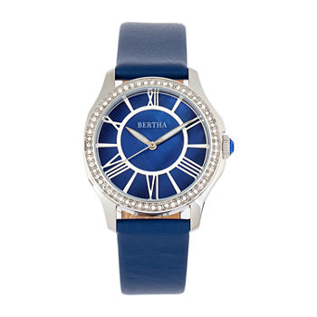 Bertha Womens Blue Leather Strap Watch-Bthbr9802