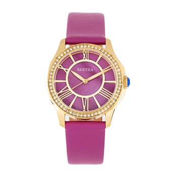 Bertha Womens Purple Leather Strap Watch-Bthbr9804