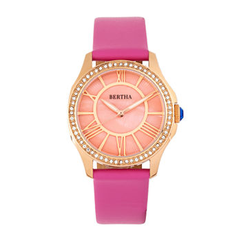 Bertha Womens Pink Leather Strap Watch-Bthbr9805