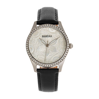 Bertha Womens Black Leather Strap Watch-Bthbr9901