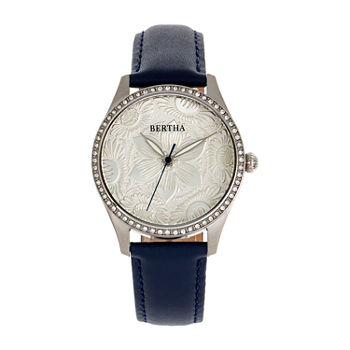 Bertha Womens Black Leather Strap Watch-Bthbr9902