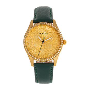 Bertha Womens Black Leather Strap Watch-Bthbr9904