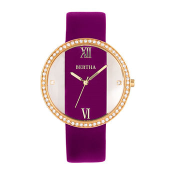 Bertha Womens Purple Leather Strap Watch-Bthbr9104