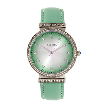 Bertha Womens Green Leather Strap Watch-Bthbr9302