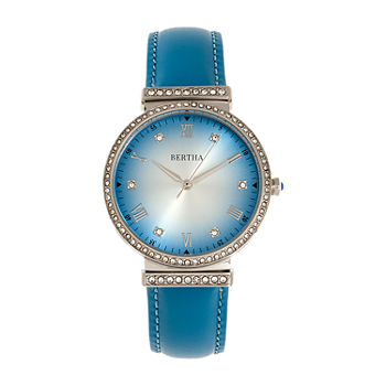 Bertha Womens Blue Leather Strap Watch-Bthbr9303