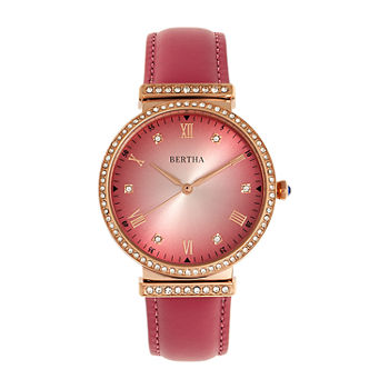 Bertha Womens Pink Leather Strap Watch-Bthbr9306
