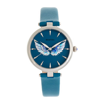 Bertha Womens Blue Leather Strap Watch-Bthbr9404