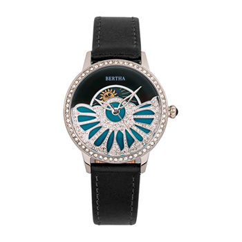 Bertha Womens Black Leather Strap Watch-Bthbr8201