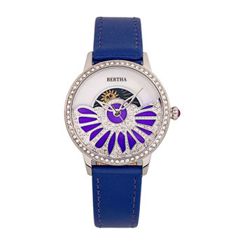 Bertha Womens Purple Leather Strap Watch-Bthbr8203