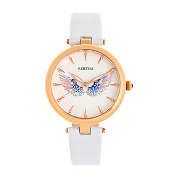 Bertha Womens White Leather Strap Watch-Bthbr9407
