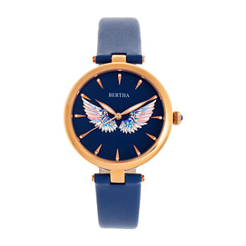 Bertha Womens Blue Leather Strap Watch-Bthbr9408