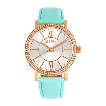 Bertha Womens Blue Leather Strap Watch-Bthbr9503